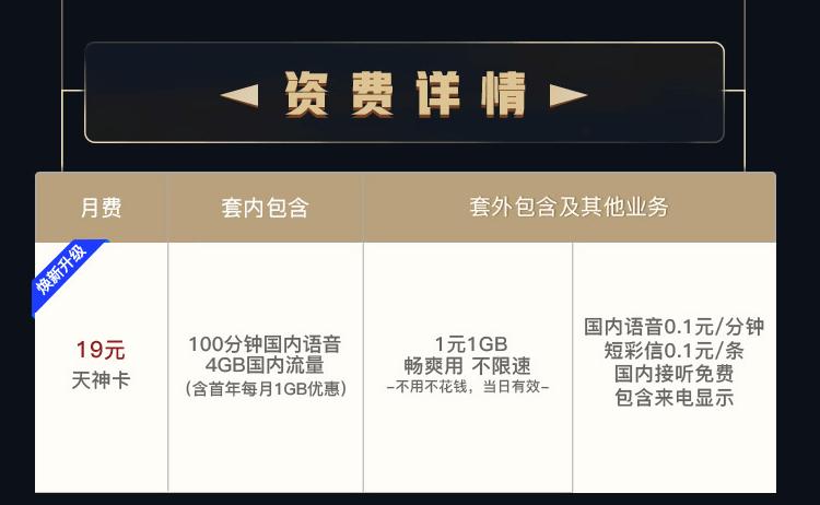 错过联通天神卡5元申请,19元月租怎样(套餐详情介绍)